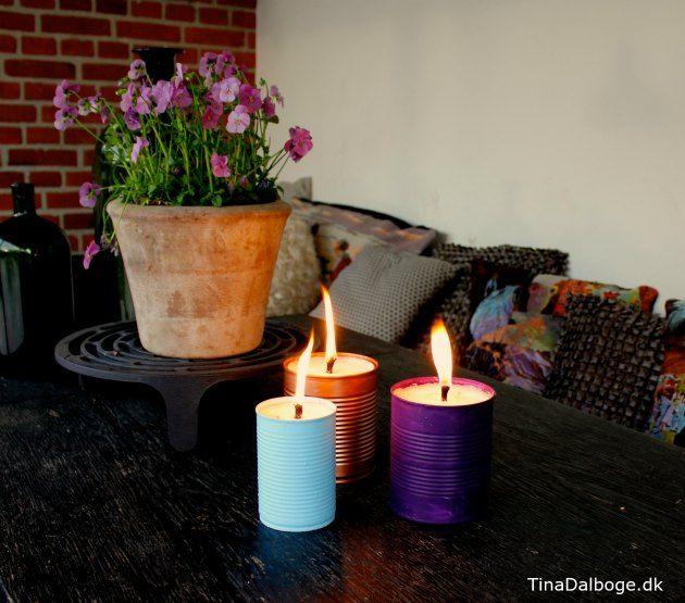 Udendørslys til terrassen i gamle konservesdåser. Køb materialer til fremstilling af lys ved kreahobshop.dk
