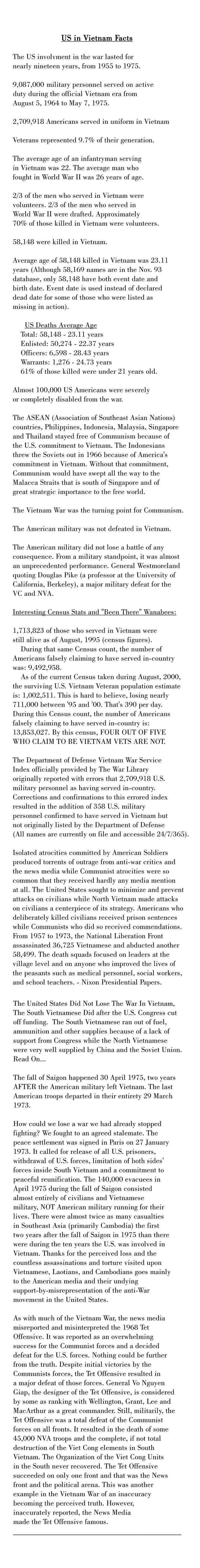 U.S. In Vietnam Facts