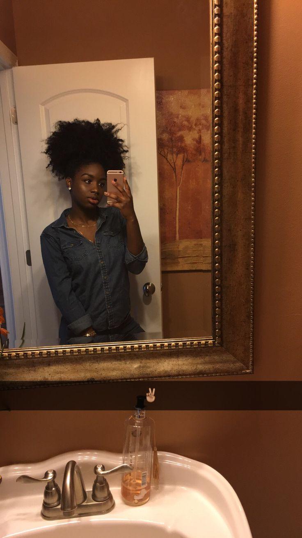 chocolate girls, natural hair, puff, jean shirt, dark skin