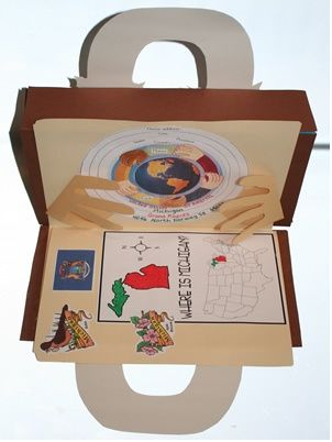 """Cereal Box Suitcase ~ World Travels- also great idea for an art portfolio - I may use to """"SHow/Suit Case a Country"""" in Geography!!"""