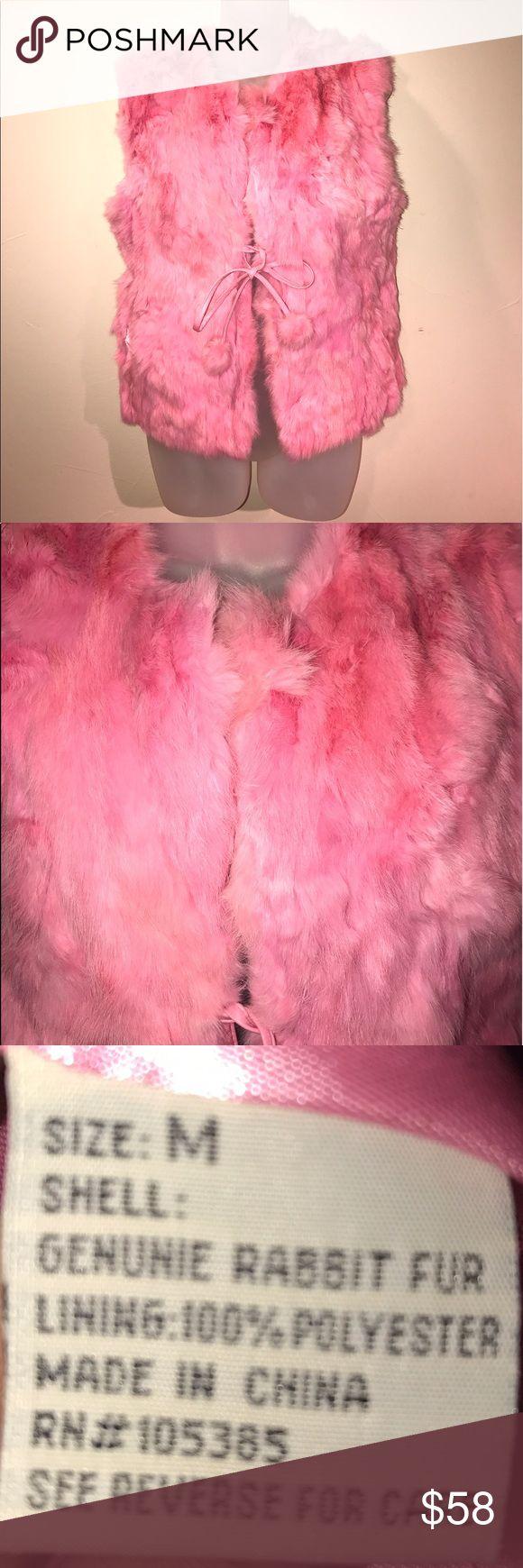 """Carrie Allen pink rabbit fur vest - true medium Beautiful addition to the """"fun"""" part of your wardrobe! Carrie Allen Jackets & Coats Vests"""
