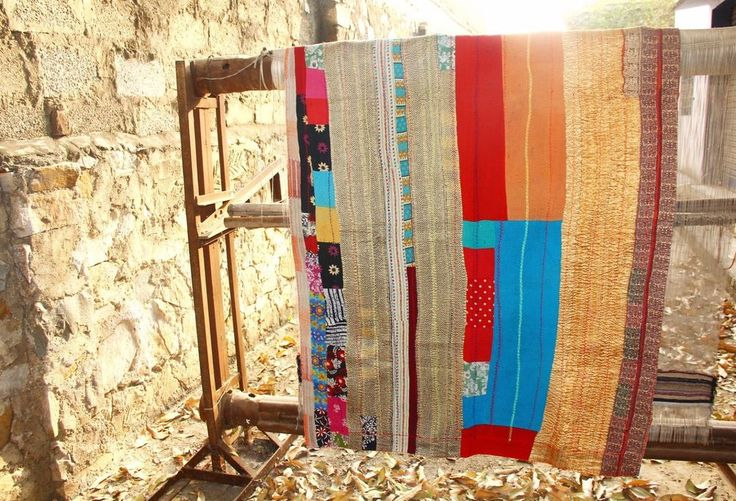 Blanket Vintage Kantha Handmade Bedspread Throw Cotton Blanket Gudri  ANB-84 #Unbranded #AntiqueStyle #BedspreadBlanketReversible