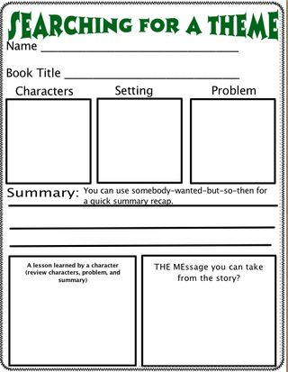 A worksheet for finding the theme of a book.     http://www.scholastic.com/teachers/top-teaching/2011/02/helping-students-grasp-themes-literature