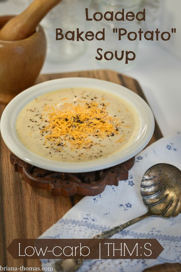"""This Loaded Baked """"Potato"""" Soup, one of our absolute favorite recipes, is THM:S, low carb, sugar free, and gluten/egg/nut free."""