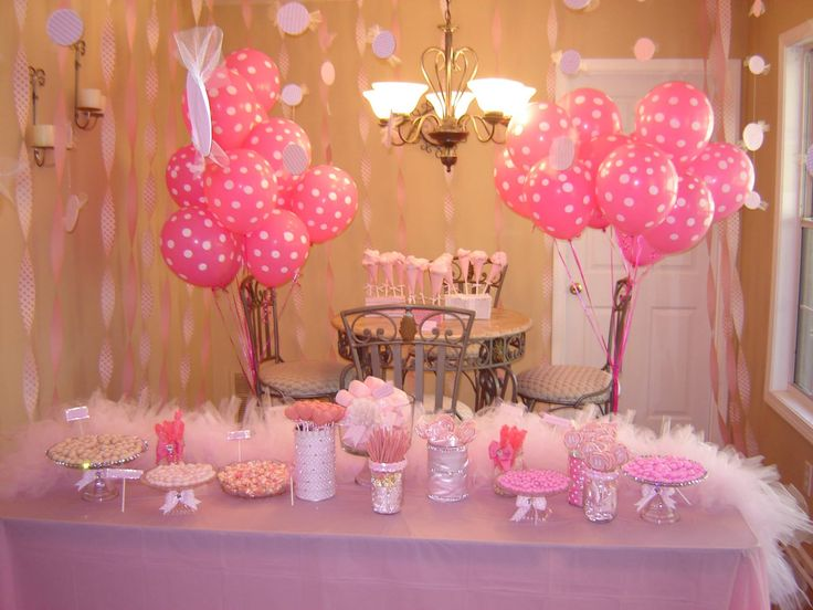 Pink 1st birthday party decorations fun food for Baby girl birthday party decoration ideas
