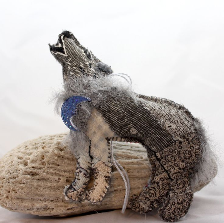 Grey Wolf Quilty Critter - OOAK, Novely, Folk Art, Ornament by QuiltyCritters on Etsy