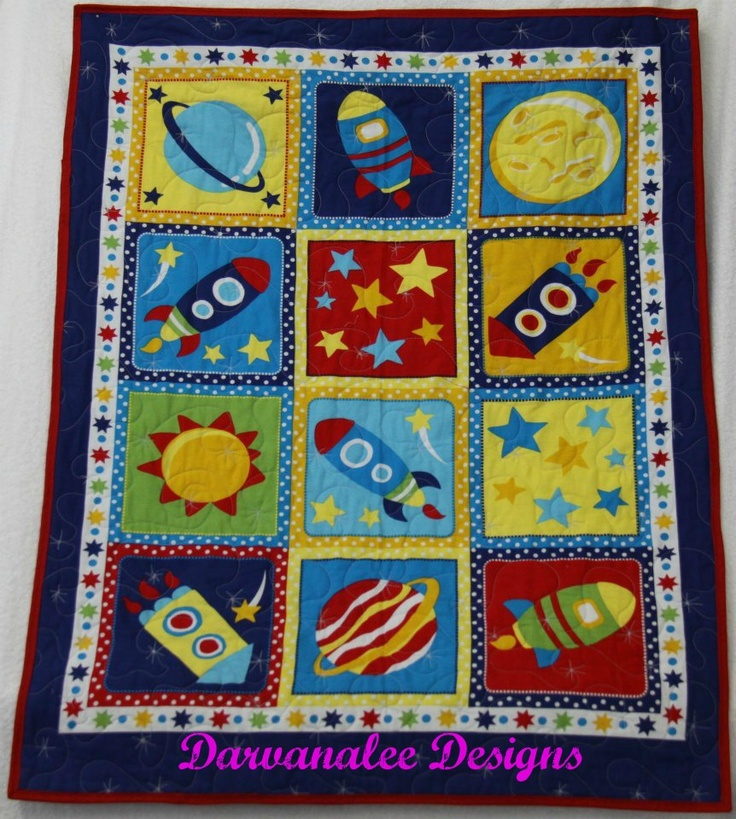 Rocket Ship Cot Quilt  $70.00 plus postage  100% cotton front and back  with polyester Filling  Machine Binding to finish