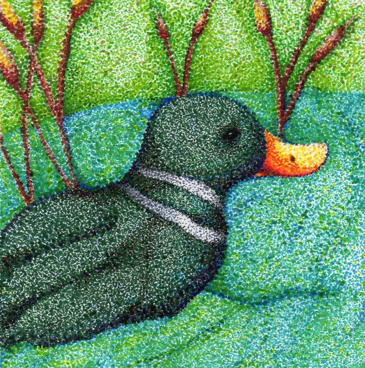 Duck in Pointillism by usagininja.deviantart.com