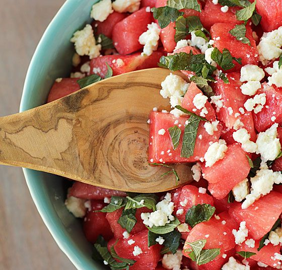 Watermelon Feta Salad made this tonight with a honey vinegerette. Fab