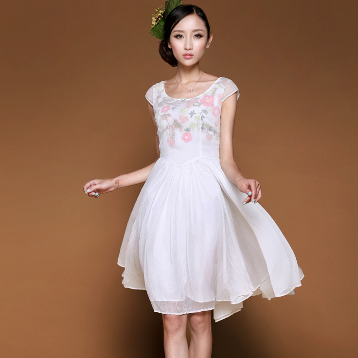 #Swanmarks Liebo New 2012 Summer High Class Round Collar Printing Chiffon Dress