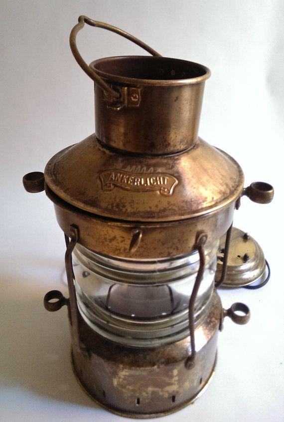 Vintage Ankerlicht DHR Brass Maritime Lantern, electric lantern, nautical lantern #maritime #vintage #nautical #lantern #beachcottage #country #cottagedecor