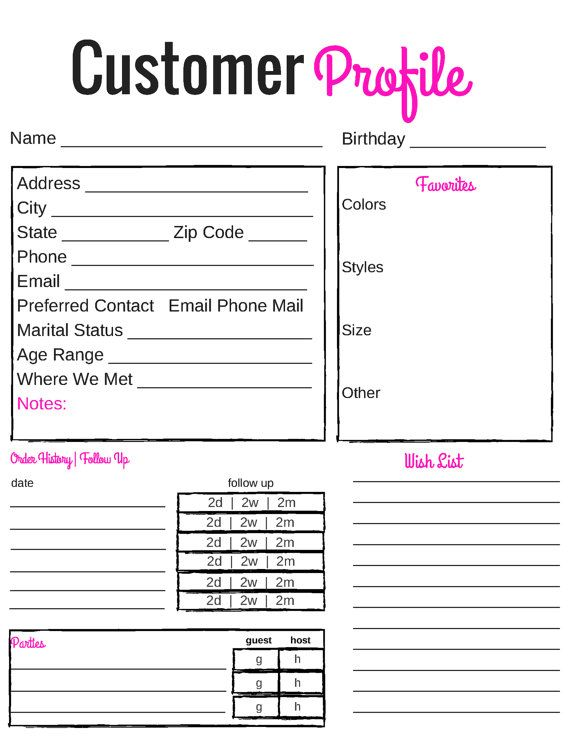 printable customer profile direct sales by suzescreations