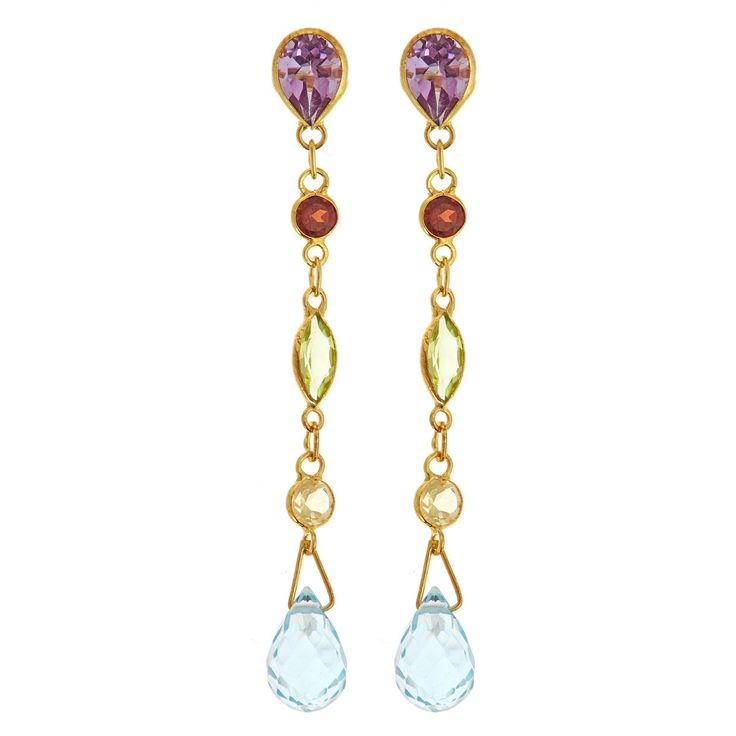 These stunning earrings feature luxurious amethyst, blue topaz, citrine, garnet and peridot  gemstones set on sterling silver. This elegant jewelry is crafted with a high polish finish.