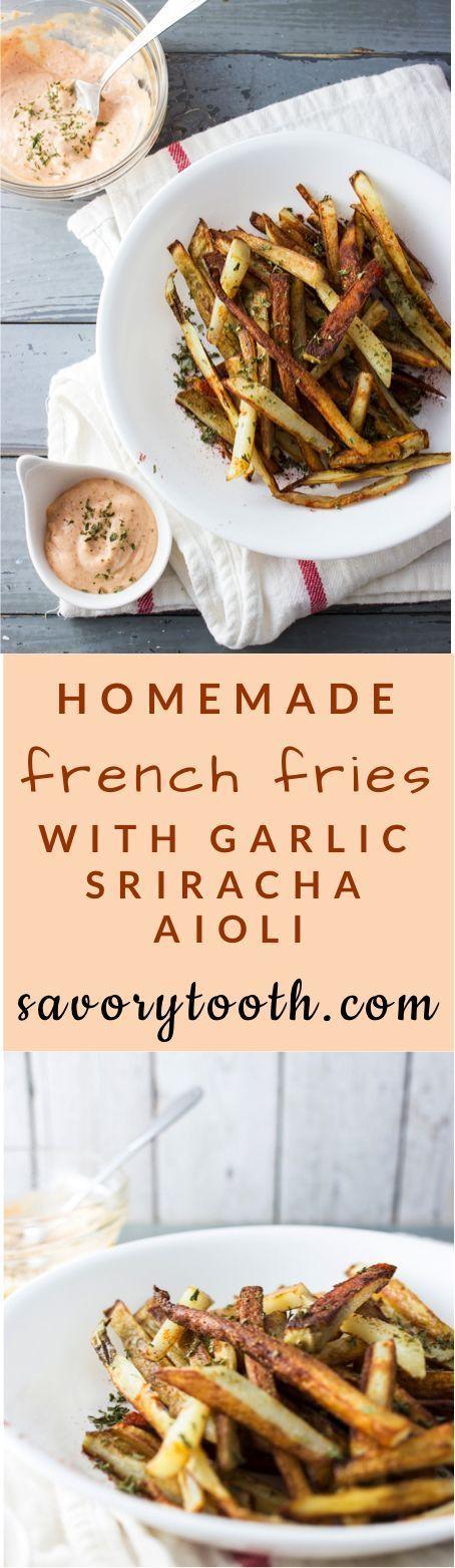 Homemade french fries with garlic sriracha mayo   http://savorytooth.com