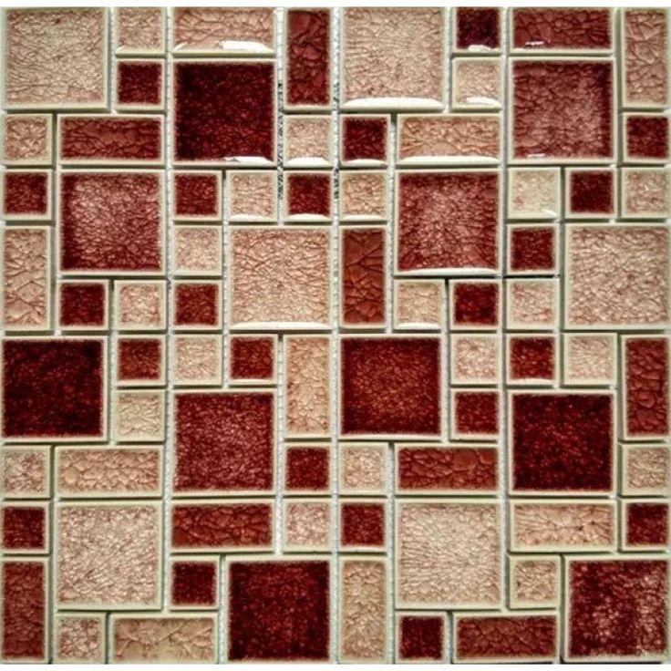 Crackle Glass Mosaic Wall Tile Glossy Mosaic Red & Peach Cheap Backsplash Tiles
