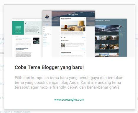 """Tema Blog Baru untuk Pengguna Blogspot  Artikel kali ini sekaligus jawaban guna menepis semua isu yang beredar dan tidak sedikit blogger yang mempercayai berita hoax seputar """"platform blogger akan ditutup"""". Alih-alih menutupnya Blogger atau pengguna di Indonesia lazim menyebutnya dengan blogspot -malah menambah tema baru yang bisa dipilih oleh pengguna setia mesin ngeblog sebagai media aktualisasi diri atau monetisasi. Dalam sebuah laman resmi (21/3/2017) blogger mengungkapkan hal ini…"""