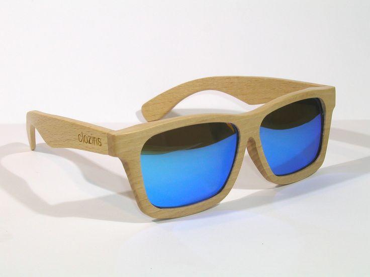 zGlasses wood&blue - Gafas de madera polarizadas de color haya con lentes azules