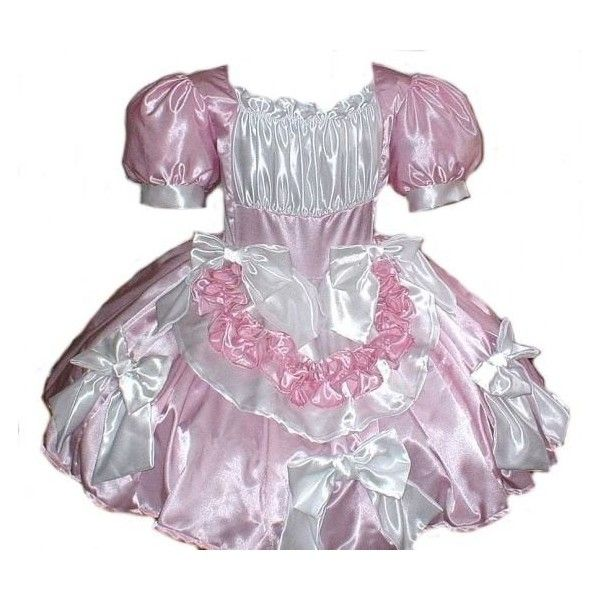 Satin Swiss Maid Little Bo Peep Sissy Bows Dress Costume Pink and... ($350) ❤ liked on Polyvore featuring dresses, white ve women's clothing