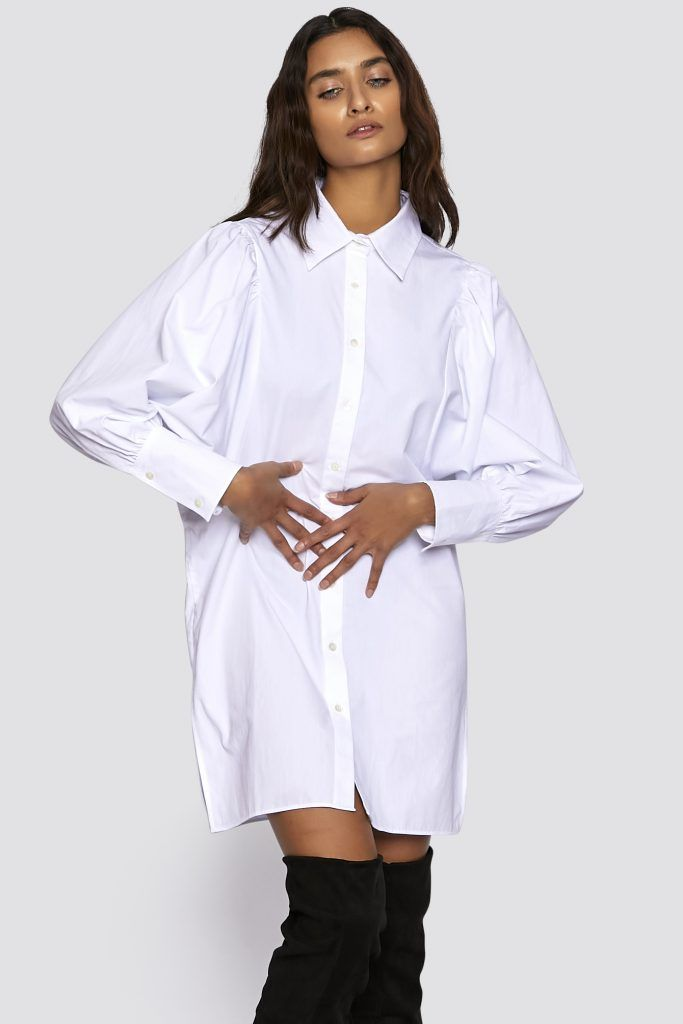 bio baumwolle hemdkleid mit fledermausaermel in 2021