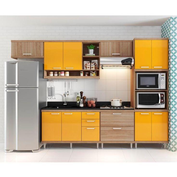 Cozinha Compacta Aéreos Armário p/ Forno/Microondas e Balcões de Pia/Cooktop Argila/Laca Amarelo -Móveis e Decoração - Cozinhas completas - Walmart.com