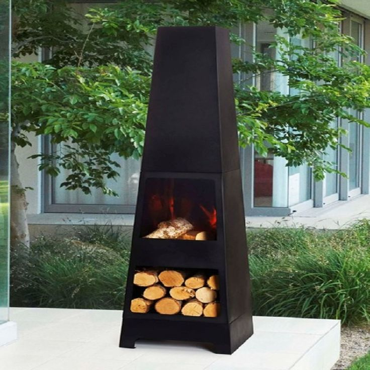 Modern Mamo Black Chiminea Fire Pit For Outdoor Wooden Deck : Fire Pit For Wood Deck Landscaping: More Contemporary Element Of Modern Chiminea For Your Outdoor Gathering Space Ideas