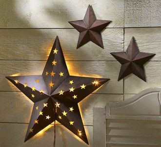 ... Of Indoor Outdoor Rustic Metal Barn Stars W/ Light - Sun, Moon & Stars