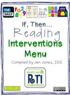 """Free on TpT 4th Grade: RtI: Response to Intervention """"If, Then"""" Reading Interventions Menu"""