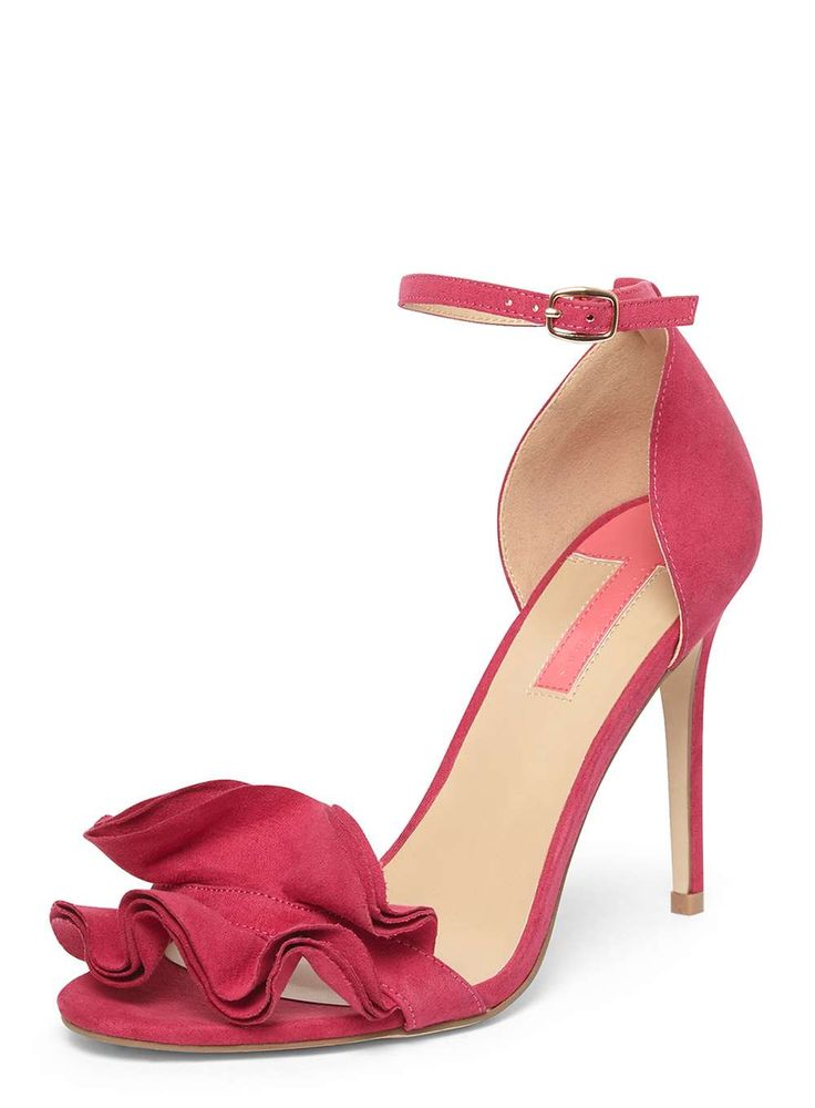Womens Fuschia 'Sway' Ruffle Sandals- Pink