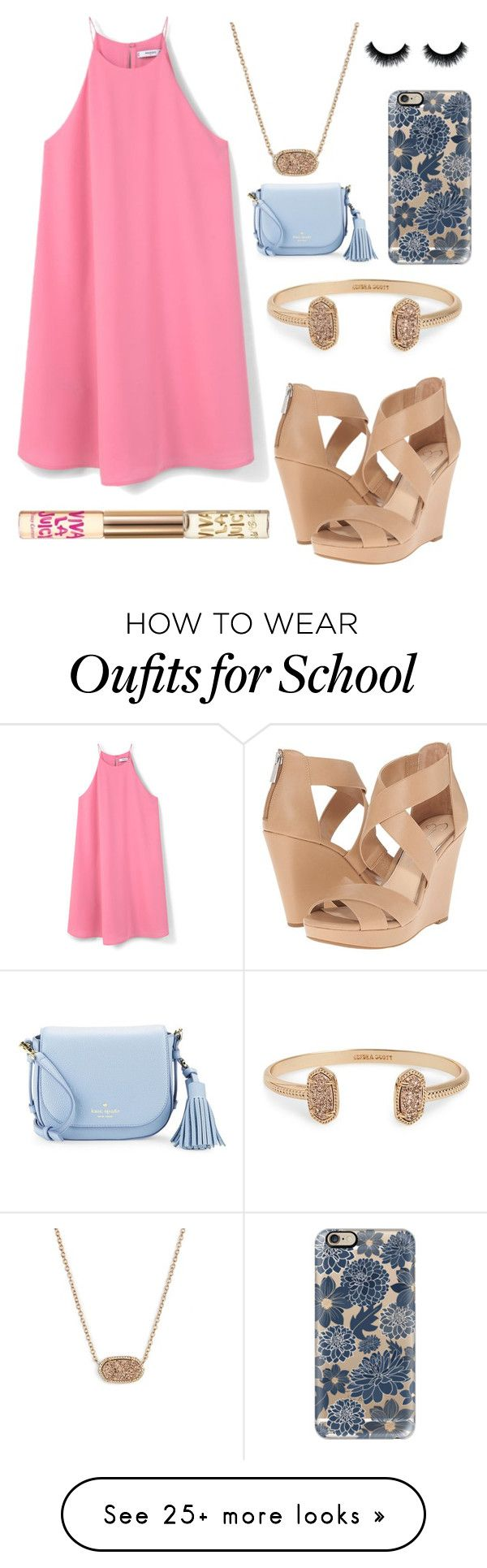 """Last week of school"" by jadenriley21 on Polyvore featuring Jessica Simpson, MANGO, Kendra Scott, Casetify, Kate Spade and Juicy Couture"