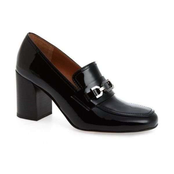Women's Sarto By Franco Sarto Tabby Pump (5.105 RUB) ❤ liked on Polyvore featuring shoes, pumps, black patent, black loafers, stacked heel pumps, franco sarto pumps, black pumps and chunky loafers