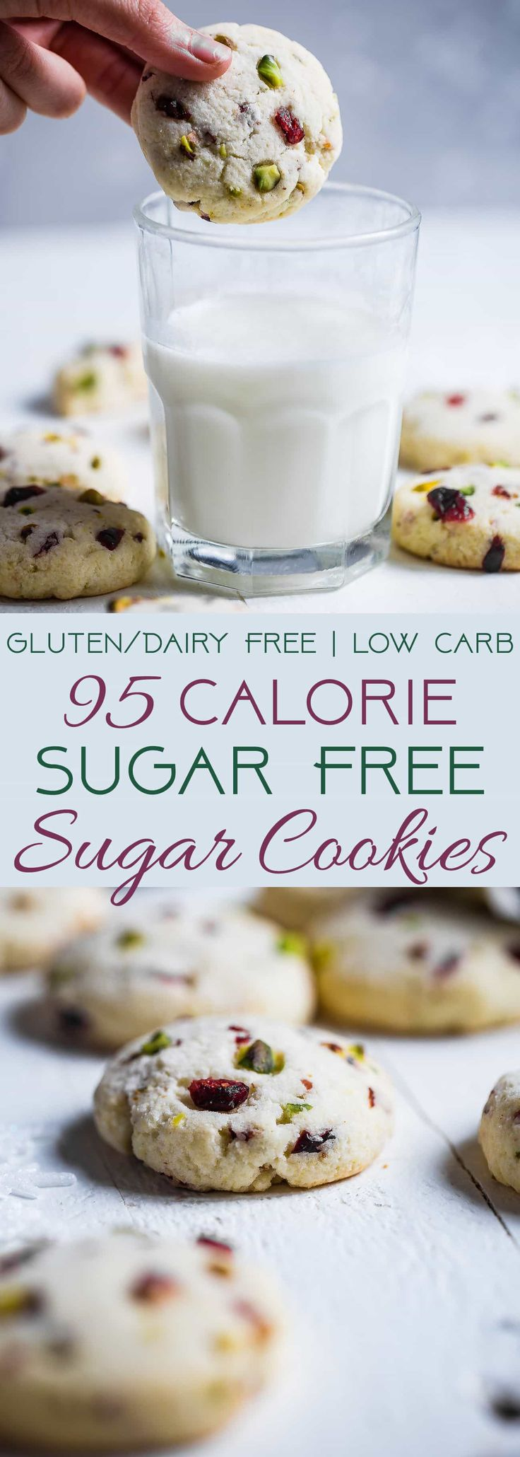 Gluten Free Sugar Free Sugar Cookies - These quick and easy, CHEWY sugar free sugar cookies have tangy and crunchy cranberries and pistachios! They're a healthier Christmas treat for only 95 calories! | Foodfaithfitness.com | @FoodFaithFit