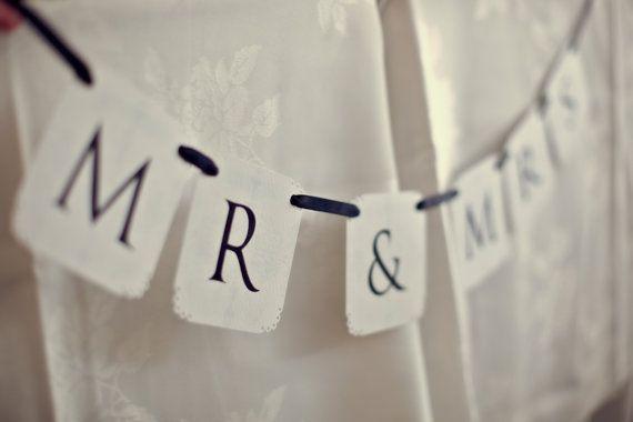 PRINTABLE FILE... Mr & Mrs Wedding Banner... by CreativePapier, $10.00