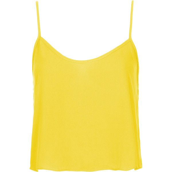 TOPSHOP Crop Strappy Cami ($30) ❤ liked on Polyvore featuring intimates, camis, tops, shirts, tank tops, topshop, yellow, yellow cami, topshop cami and yellow camisole