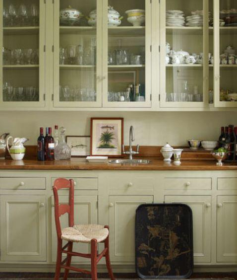 Sage Green Kitchen With White Cabinets: Soft Sage Green Painted Kitchen...
