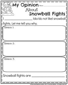 Opinion Writing Prompts for December - My Opinion About Snowball Fights.