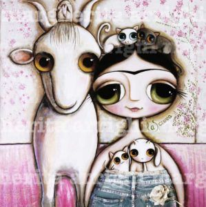 Frida Kahlo With White Goat By Margherita Arrighi
