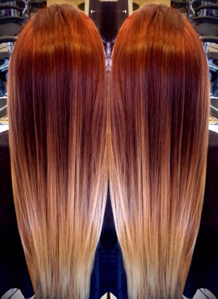 Red melting to blonde ombré balayage
