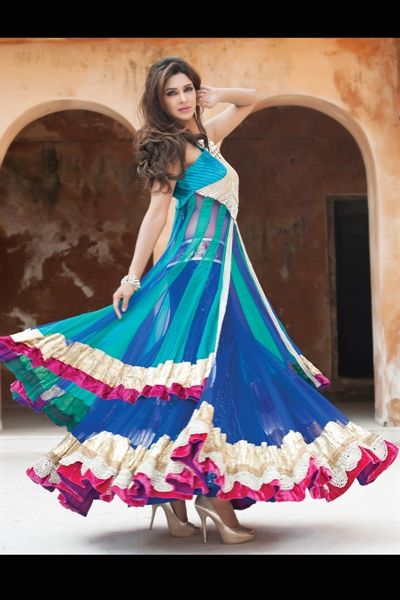 Flowy Blue Lengha —Love the flare at the bottom! #SouthAsianCouture