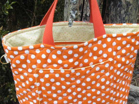 Handmade quilted tote bag Orange polka dot tote by quiltcountry, $38.00