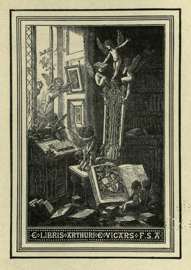 Bookplate of Arthur E Vicars Ulster King of Arms by the Rev W Fitzgerald