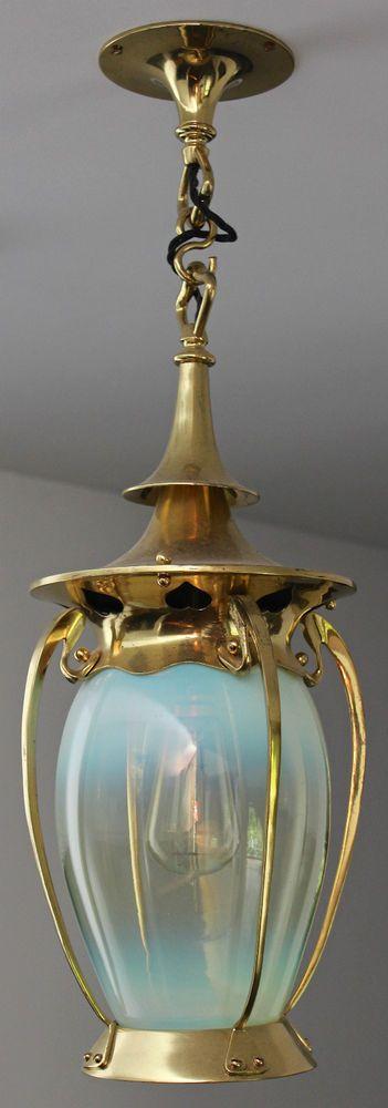 Antique Arts Crafts Art Nouveau Brass Vaseline Glass Lantern Ceiling Light