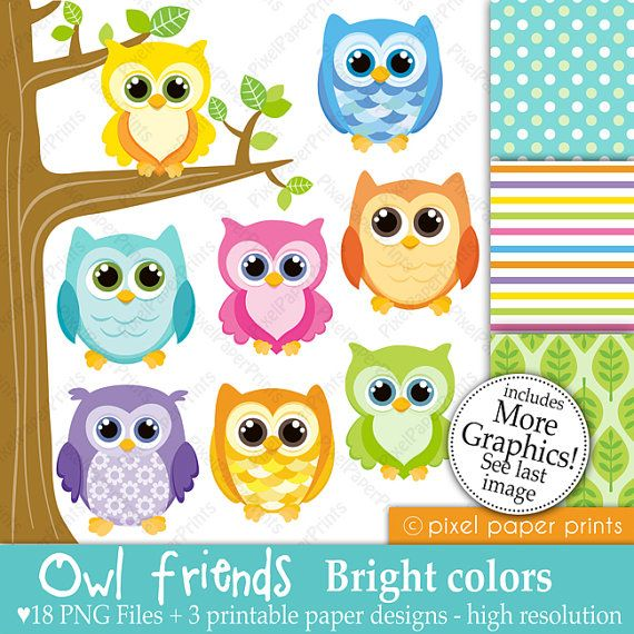 Owl friends - BRIGHT COLORS - Digital paper and clip art set via Etsy