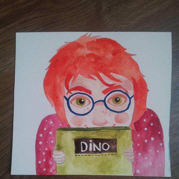 #dino #childrens #childrensbooks #dinosaursofinstagram #dinolove #girlwithbook #girlwithglasses #watercolor #illustration #myfavoritebook #martonszimona