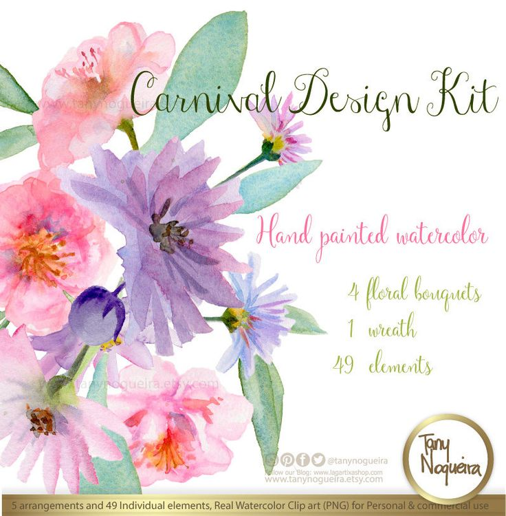 Floral bouquets 💐 watercolor hand painted 👌https://www.etsy.com/mx/listing/267978774/carnival-arreglos-florales-boda #Invitacion #invitations #weddingparty #scrapbook