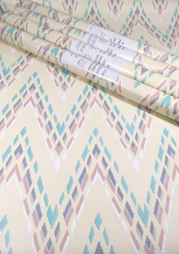 VTG Waverly Wallpaper Lot Of 4 Pastel Southwest Abstract Chevron Stripe #Waverly