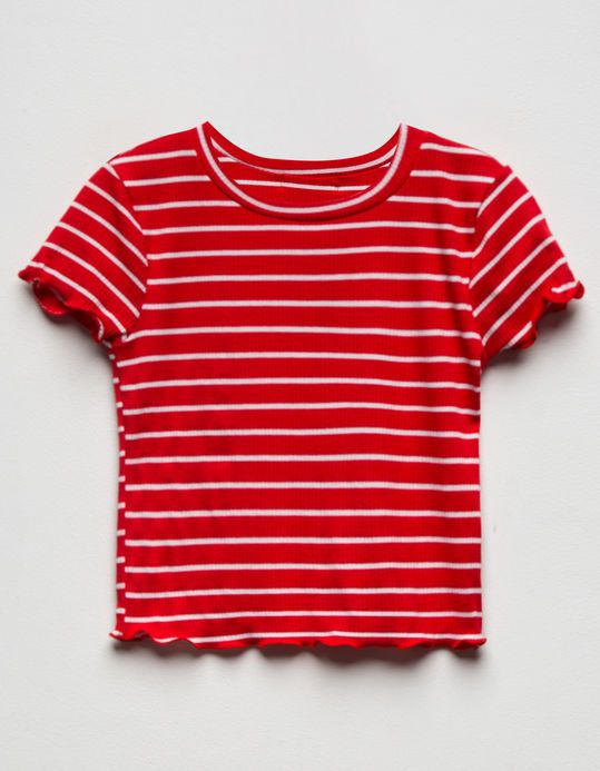 463f025f6e7f1 Tilly s Red Striped Lettuce Edge Crop Top Size L