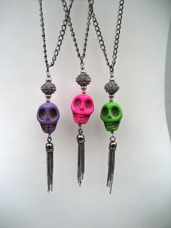 Colorful Skull Necklace Dia De Los Muertos Jewelry by PieceLust