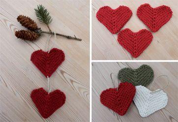 Strikket hjerte - - Familie Journal - Knitted hearts