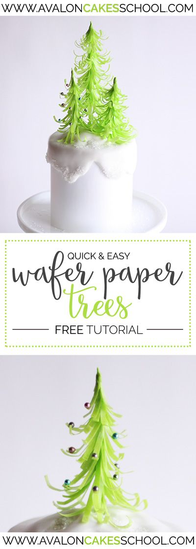 Quick wafer paper trees! They are SO EASY, but so cute! They work for Christmas and all year round... love these! avaloncakesschool.com Free tutorial!