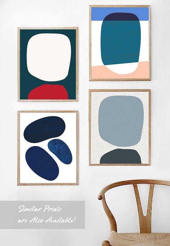 Red Mid Century Modern Print Mid Century Print Teal Print Geometric Art Red Print Scandinavian Pr Shipping Art Prints Modern Art Prints Scandinavian Print